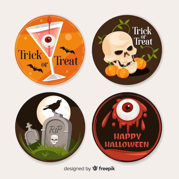Halloween labels collection in flat design Free Vector