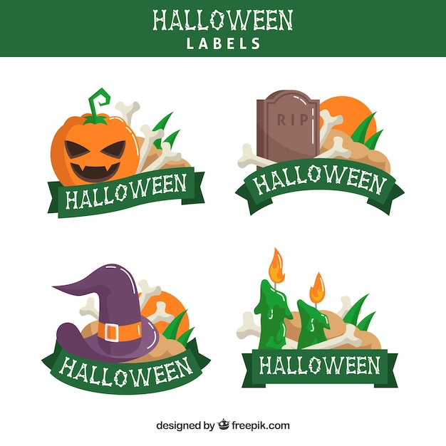 halloween labels with colorful style vector free download