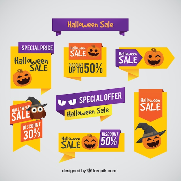 Halloween labels with special prices Free Vector