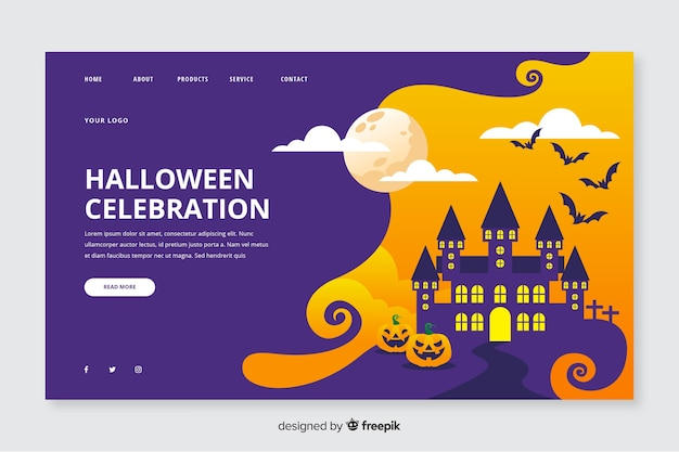 Halloween landing page in flat design Free Vector