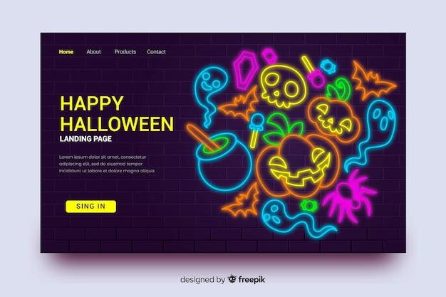 Halloween landing page and neon pumpkin Free Vector