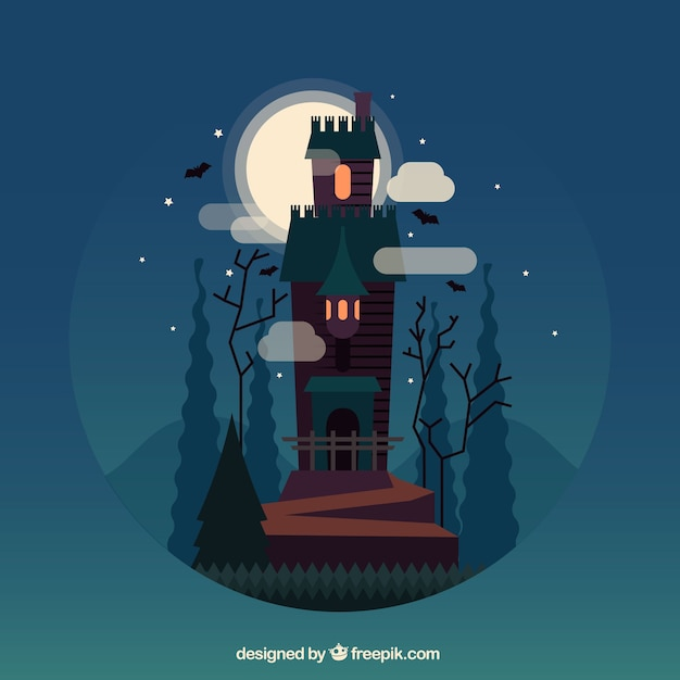 Halloween landscape background with enchanted castle Vector