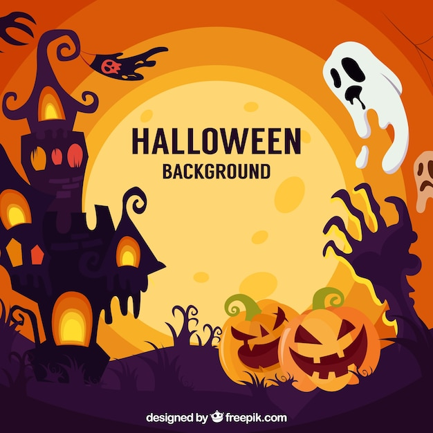 Halloween landscape background with pumpkins and ghost