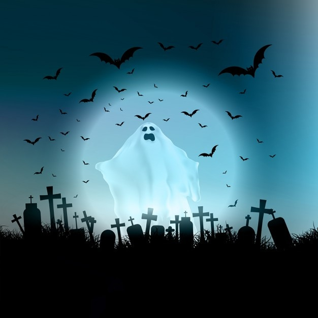 Halloween landscape with ghostly figure and cemetery Free Vector