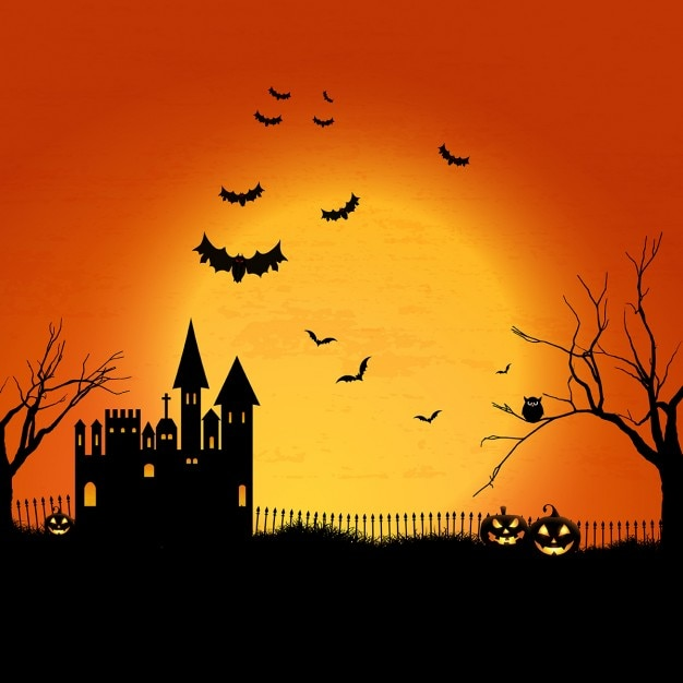 Halloween landscape with haunted house and\ graveyard