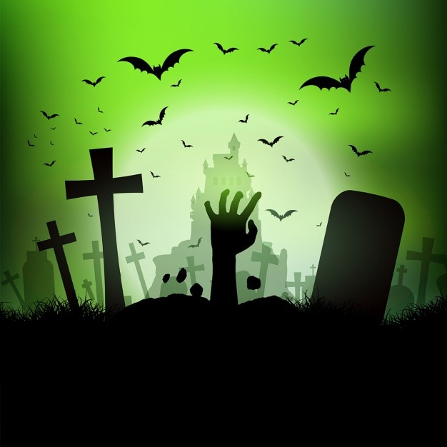 Halloween landscape with zombie hand Free Vector