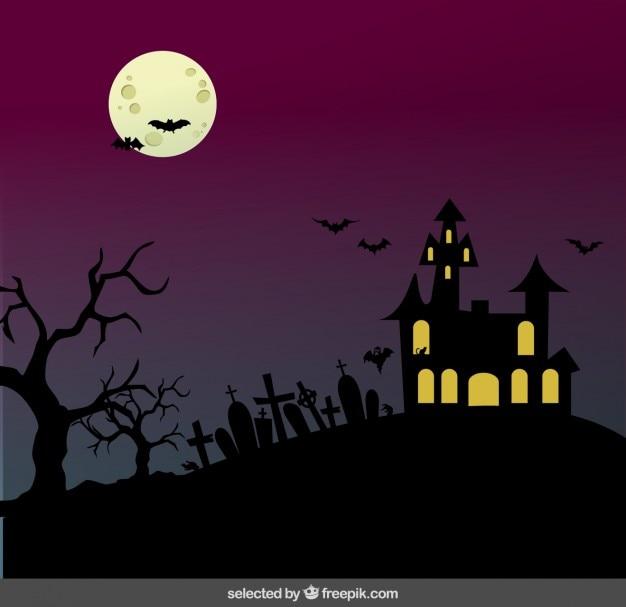Halloween landscape Free Vector