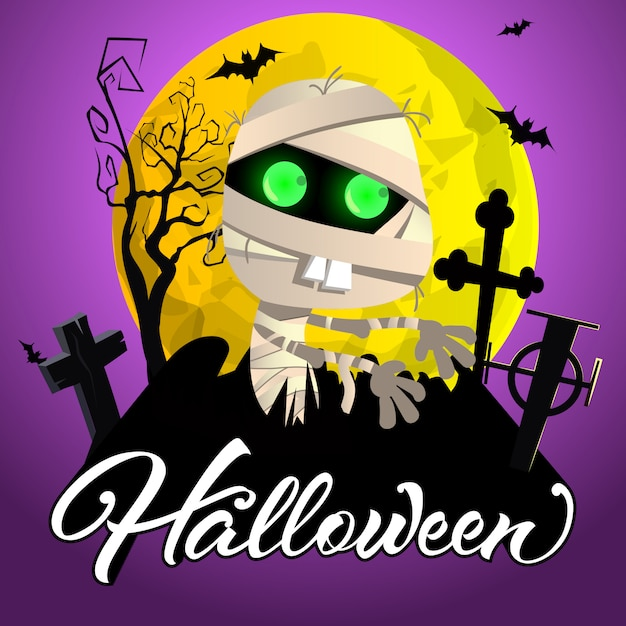 Halloween lettering. mummy on graveyard, yellow moon and bats Free Vector