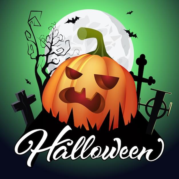 Halloween lettering. pumpkin on graveyard, bats, tree and moon Free Vector