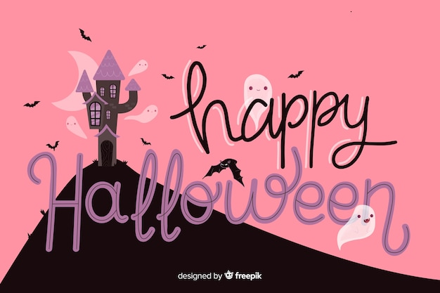Halloween lettering with abandoned house Free Vector