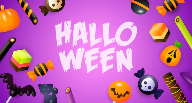 Halloween lettering with candies, sweets and cakes Free Vector