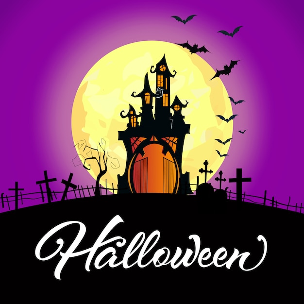 Halloween lettering with castle, full moon and graveyard Free Vector