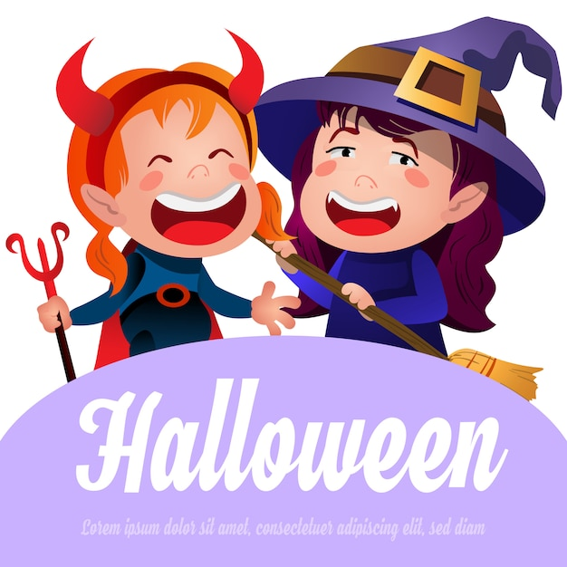 Halloween lettering with cheerful witches Free Vector