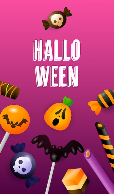 Halloween lettering with lollypops cakes and sweets Free Vector