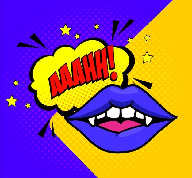 Halloween lips vampire in pop art style Free Vector