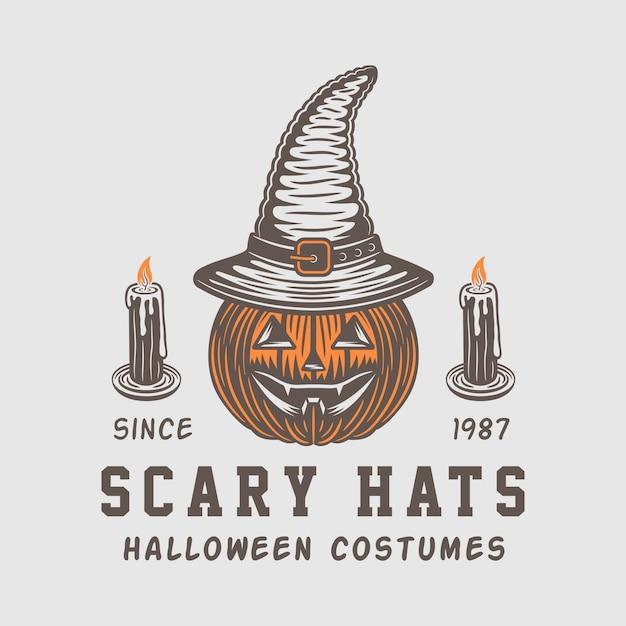Halloween logo, emblem Premium Vector