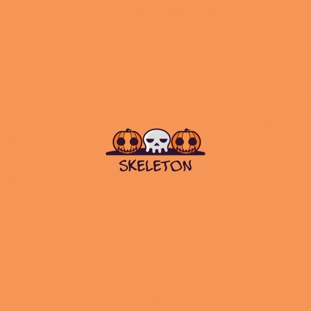 Halloween logo on an orange background Free Vector