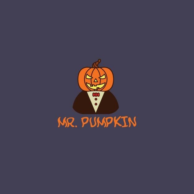 Halloween logo with a pumpkin Vector | Free Download