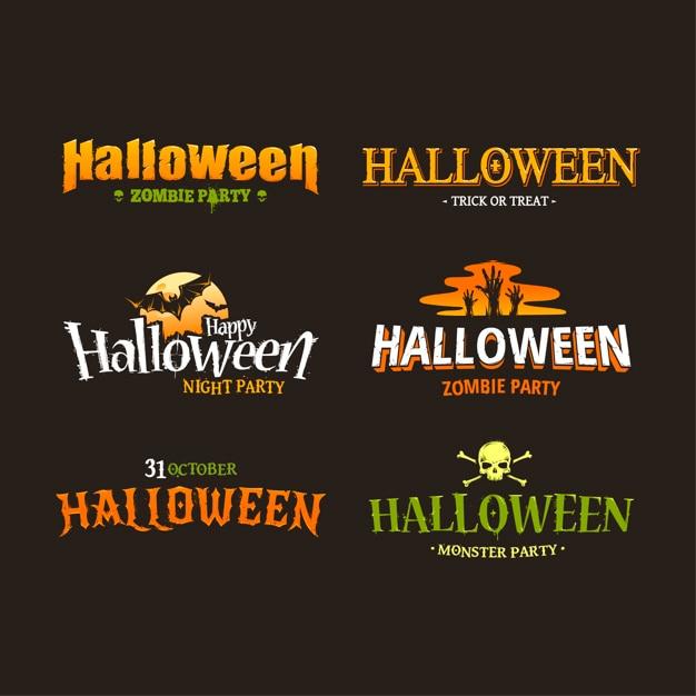 Premium Vector | Halloween logos collection
