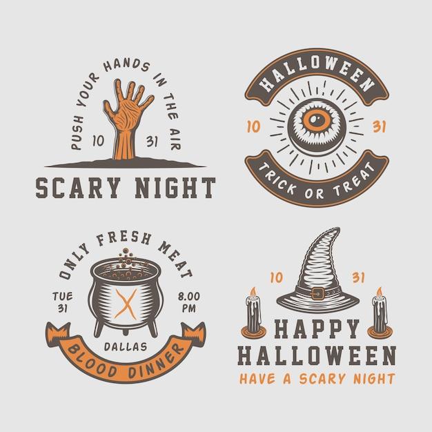 Halloween logos, emblems Premium Vector