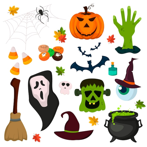 Halloween magic trick or treat symbols pumpkin ghost holiday collection . cartoon spooky halloween icons celebration night scary fear witch october. Premium Vector