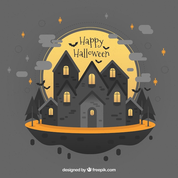 Halloween mansion with lovely style Free Vector