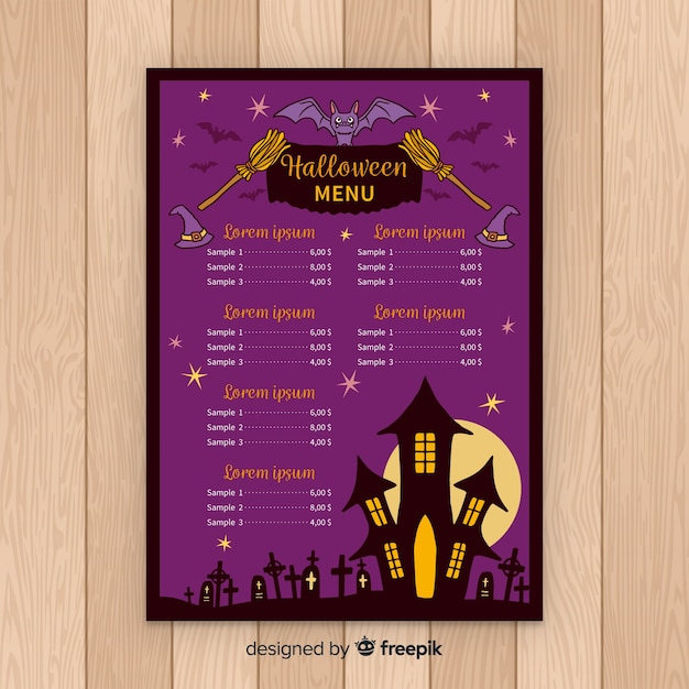 halloween menu template in flat design vector free download