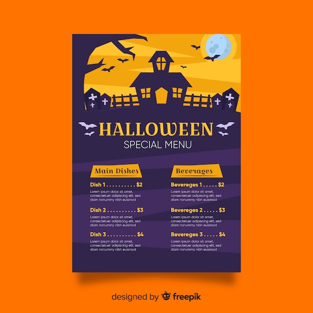 halloween menu template with flat design vector free download