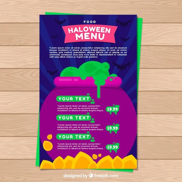 Halloween menu template with magic potion