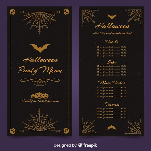 halloween menu template with vintage design vector free download