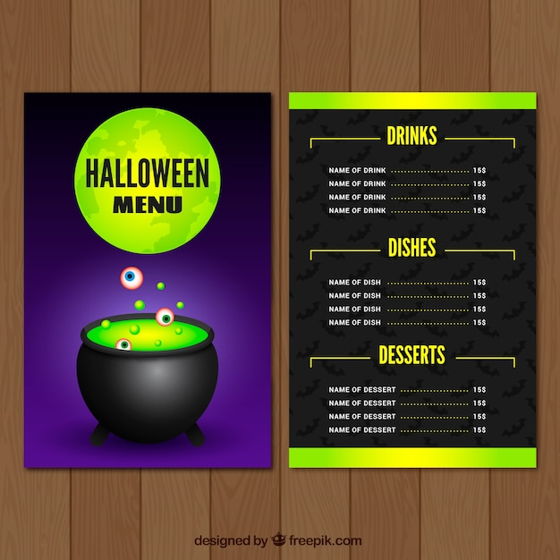 download vector halloween menu with pizza vectorpicker