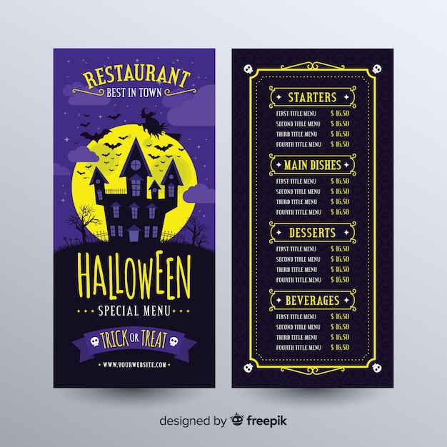 Halloween Menu template Free Vector