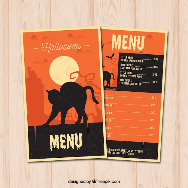 Halloween menu with black cat Free Vector