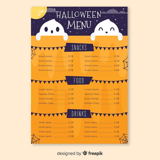 Halloween menu with cute smiley ghosts Free Vector