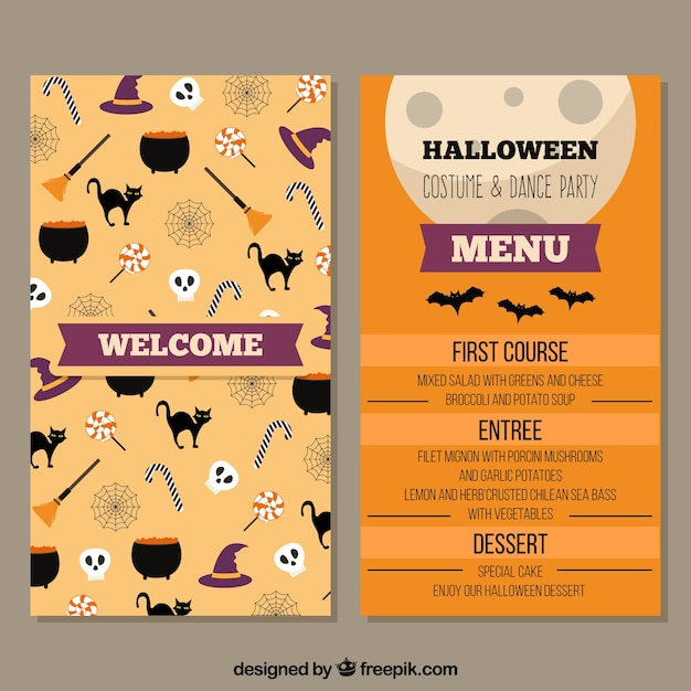 Halloween menu with fun elements Free Vector