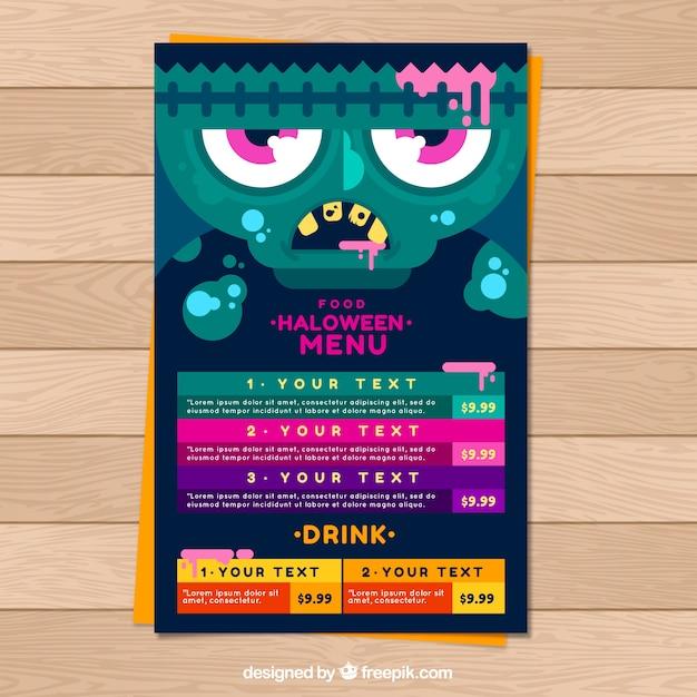 Halloween menu with zombie in flat design
