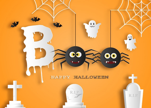halloween message boo for poster or background vector premium
