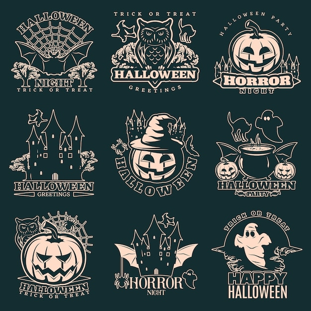 Halloween monochrome emblem set Free Vector