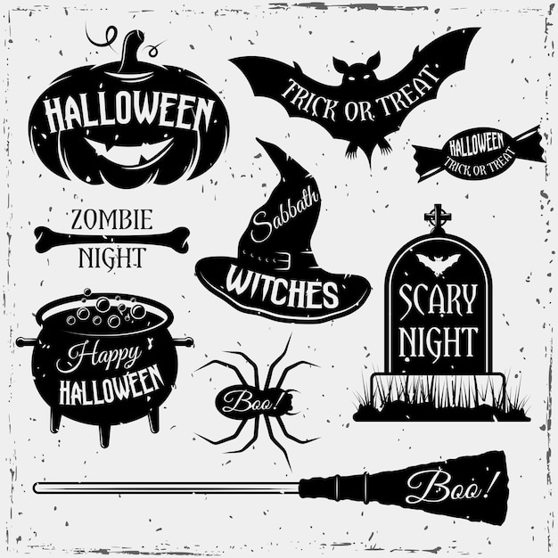 Halloween monochrome vintage element set with quotes Free Vector