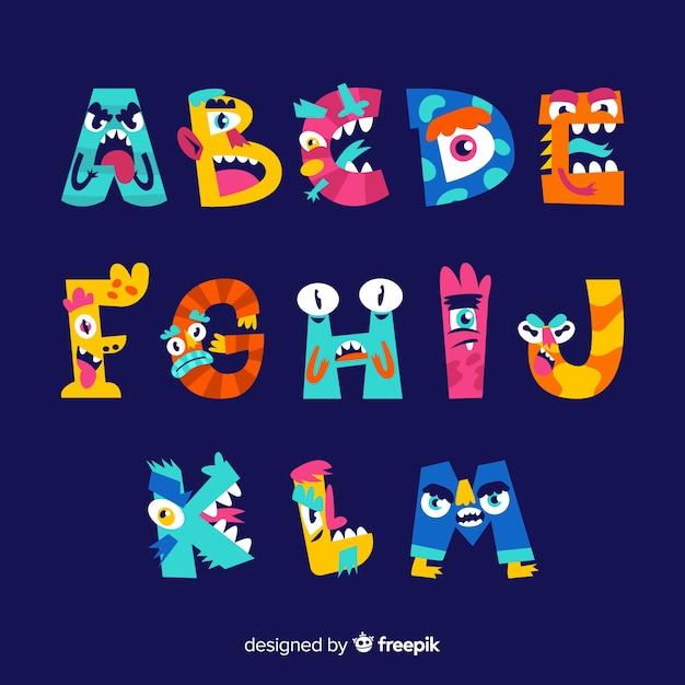 Halloween monster alphabet on blue background Free Vector