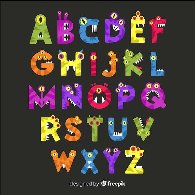 Halloween monster alphabet concept Free Vector