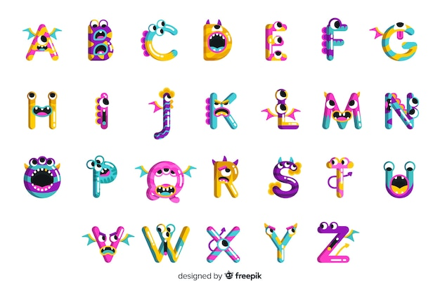 Halloween monster alphabet on white background Free Vector