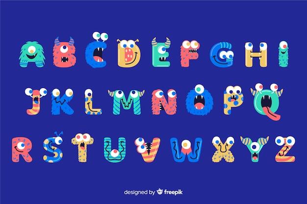 Halloween monster alphabet Free Vector