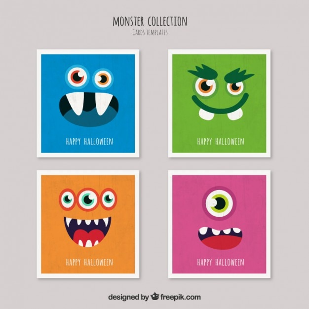 Halloween monster cards Free Vector