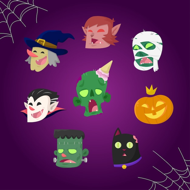 Halloween monster heads set Premium Vector