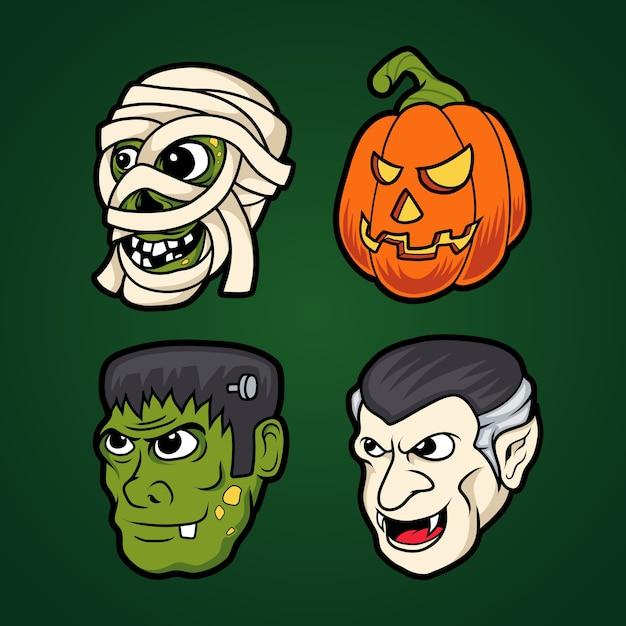 Хэллоуин монстр значок Premium векторы