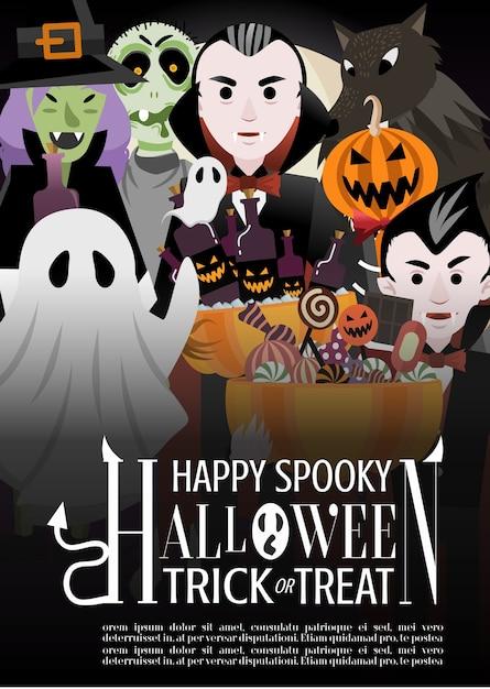 Halloween monster party invitation poster Premium Vector