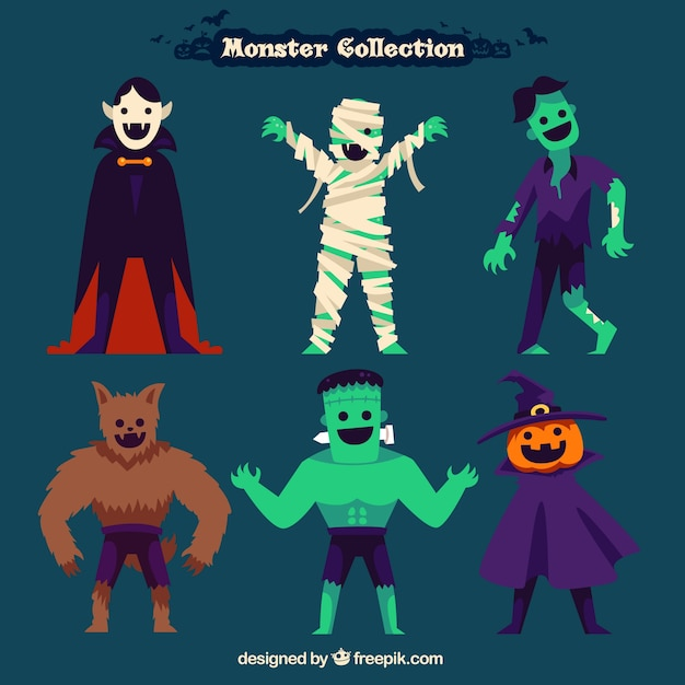 Halloween monsters collection Vector | Free Download