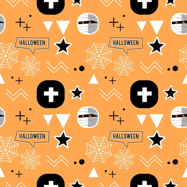 Halloween mummy and geometric cute seamless pattern Premium Vector