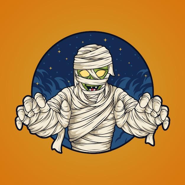 Хэллоуин мумия Premium векторы